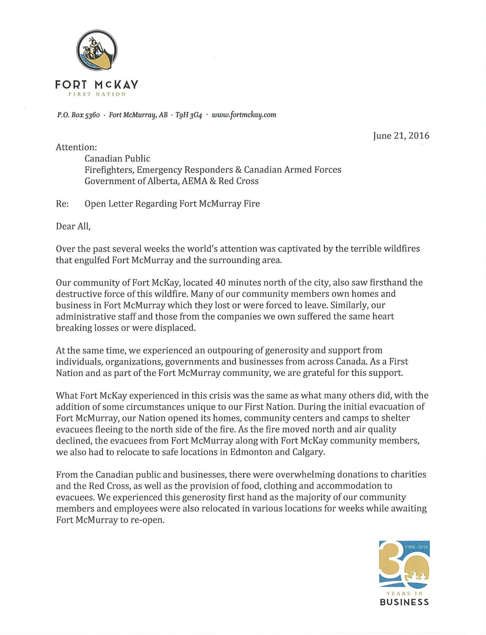Chief Bouchier - Fort McMurray Fire - Open Letter to Public (a)