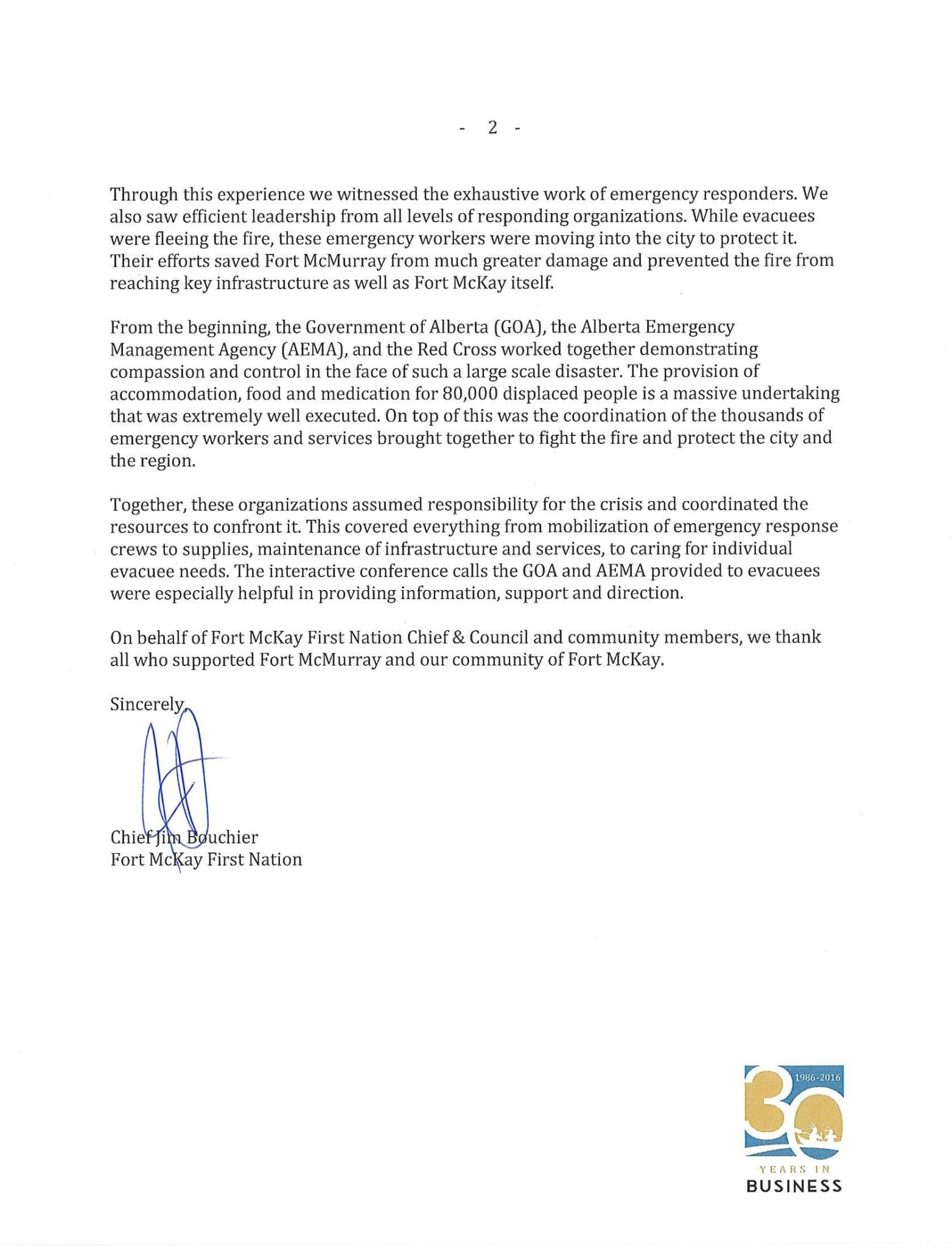 Chief Bouchier - Fort McMurray Fire - Open Letter to Public (b)
